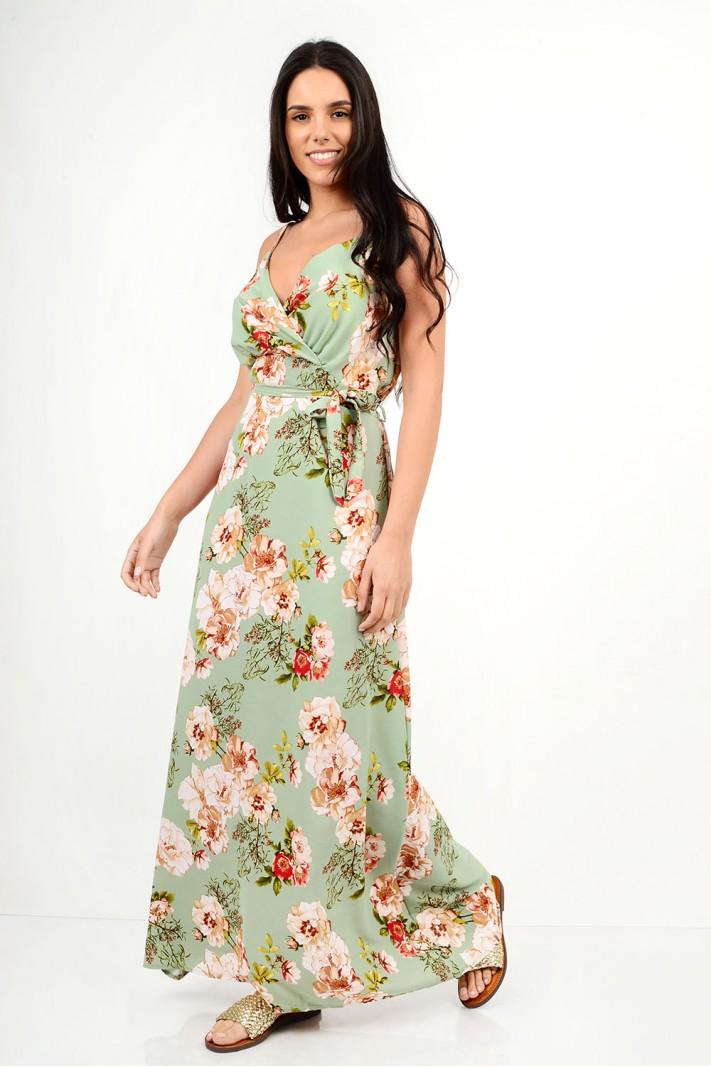 580.Φόρεμα μακρύ φλοράλ με τιράντες