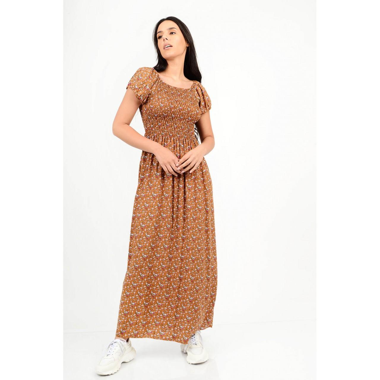 582.Φόρεμα μακρύ φλοράλ με λάστιχο