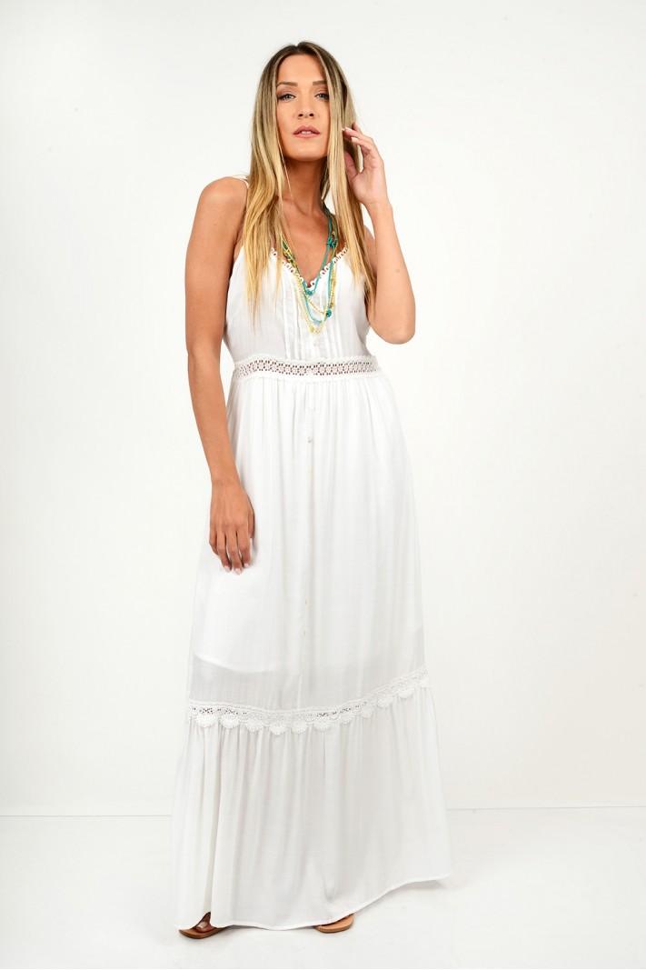 586.Φόρεμα μακρύ με δαντέλα