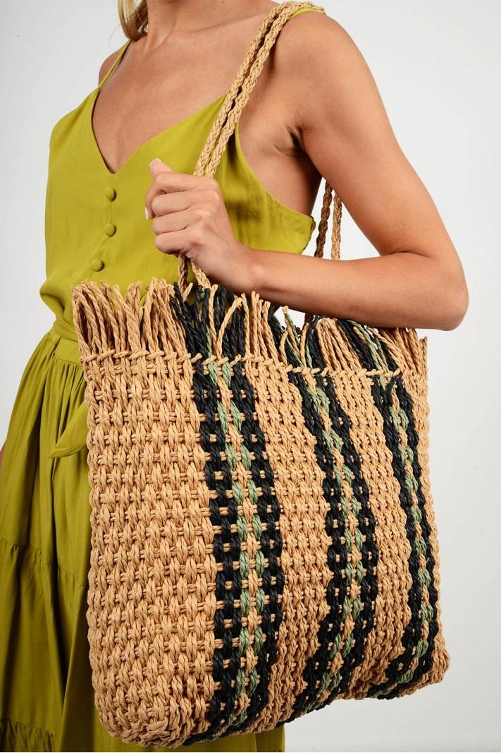 602.Τσάντα ψάθινη με σχέδιο