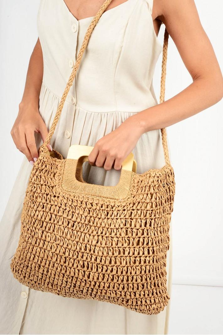 605.Τσάντα ψάθινη με χερούλι