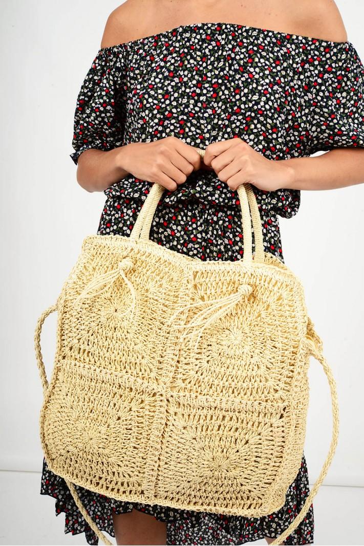 606.Τσάντα ψάθινη με σχέδιο