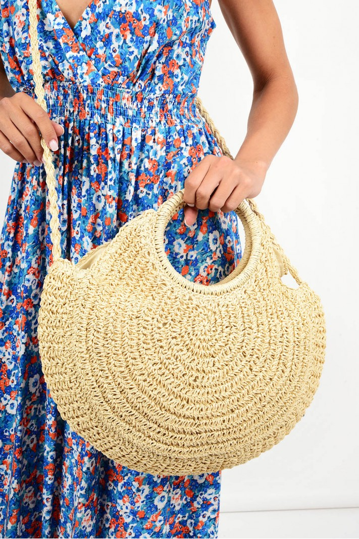 614.Τσάντα ψάθινη με χερούλι