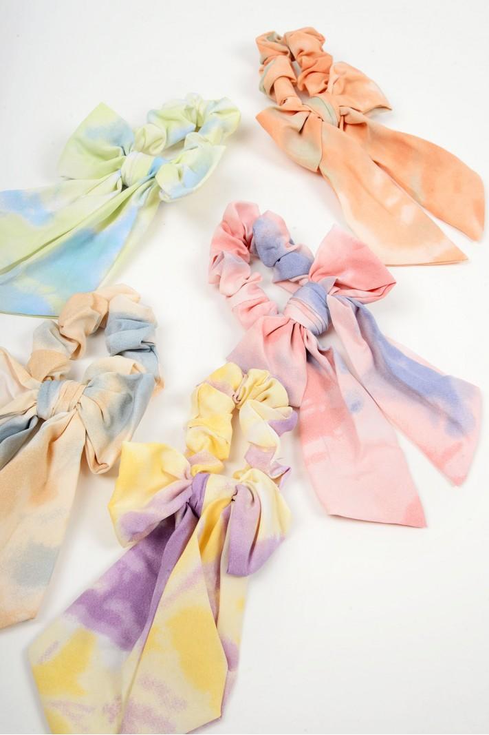 679.Λαστιχάκια μαλλιών tie dye με φιόγκο