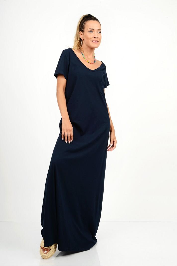 731.Φόρεμα μακρύ με μανίκια και τσέπη