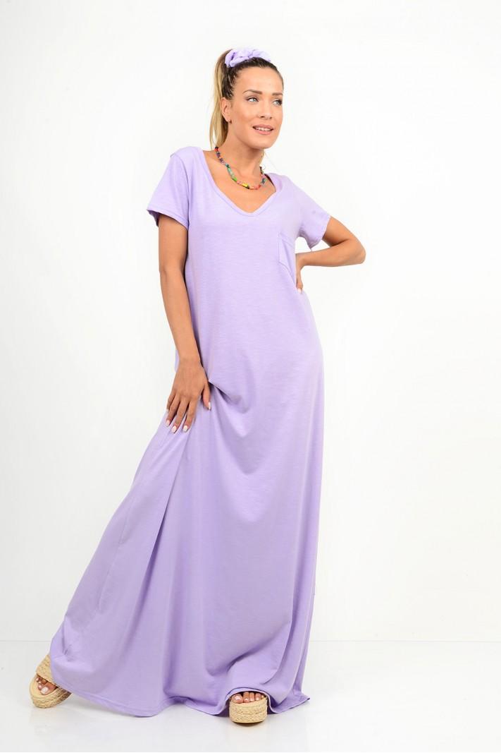 757.Φόρεμα μακρύ με μανίκια και τσέπη