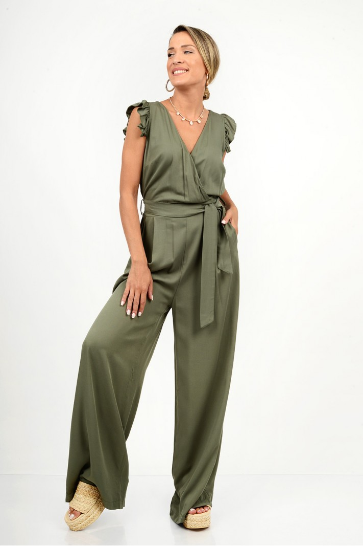 768.Ολόσωμη φόρμα κρουαζέ με ζώνη και τσέπες
