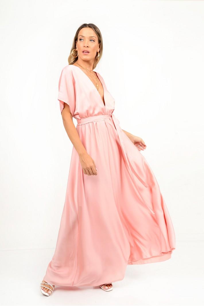 802.Φόρεμα μακρύ σατέν με μανίκια