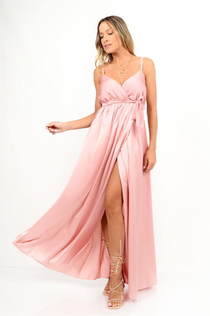 804.Φόρεμα μακρύ σατέν με κρουαζέ άνοιγμα