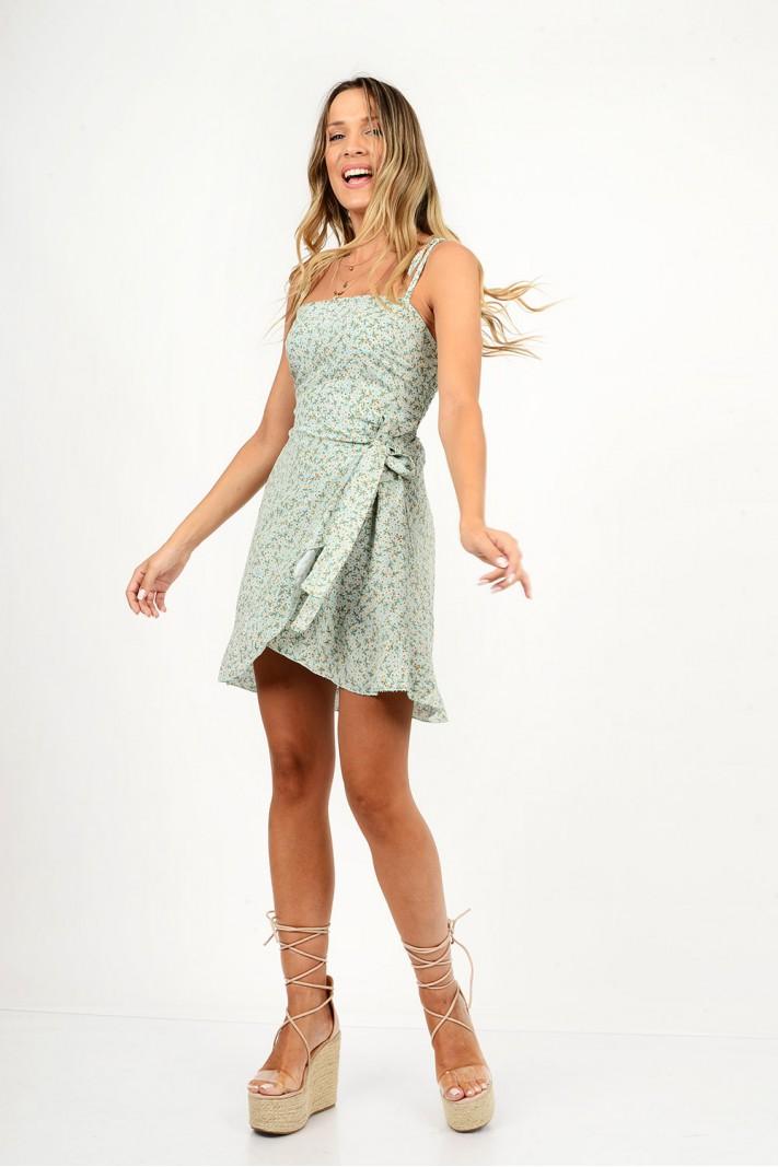 805.Φόρεμα κοντό φλοράλ κρουαζέ