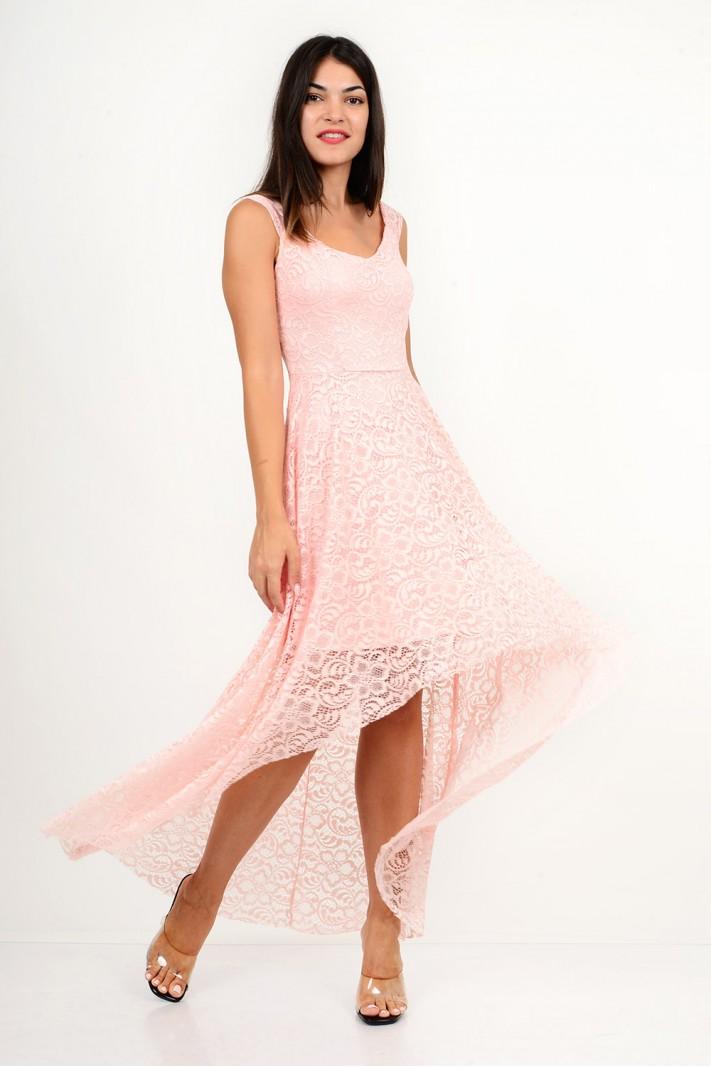 806.Φόρεμα δαντέλα ασύμμετρο