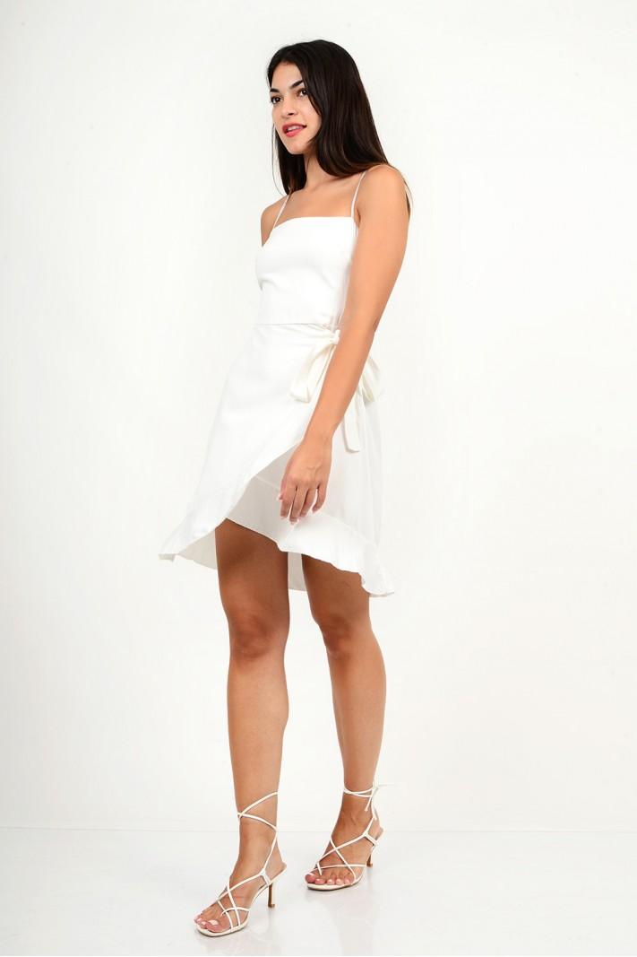 808.Φόρεμα κοντό λινό κρουαζέ