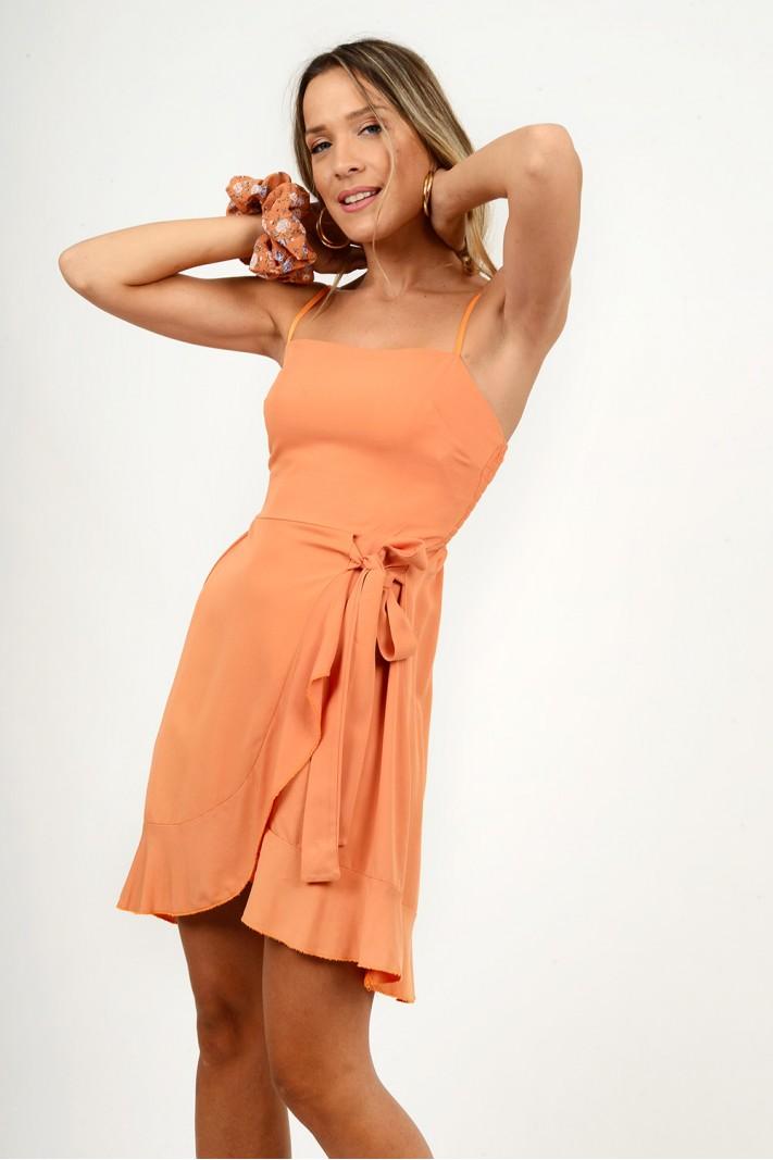 810.Φόρεμα κοντό λινό κρουαζέ