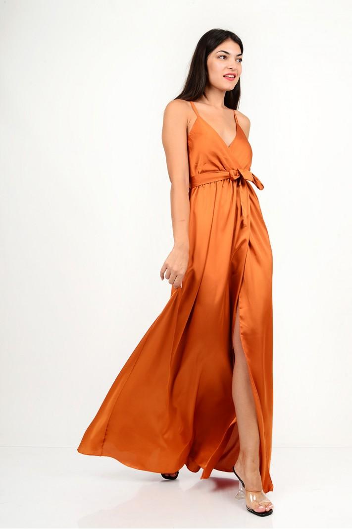 812.Φόρεμα μακρύ σατέν με κρουαζέ άνοιγμα