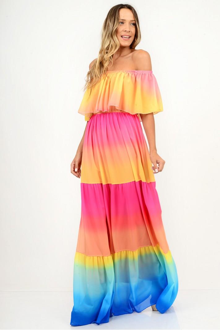 816.Φόρεμα μάξι με λάστιχο πολύχρωμο