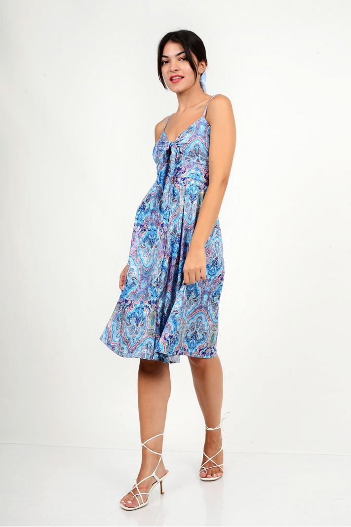 818.Φόρεμα μίντι εμπριμέ με κουμπιά
