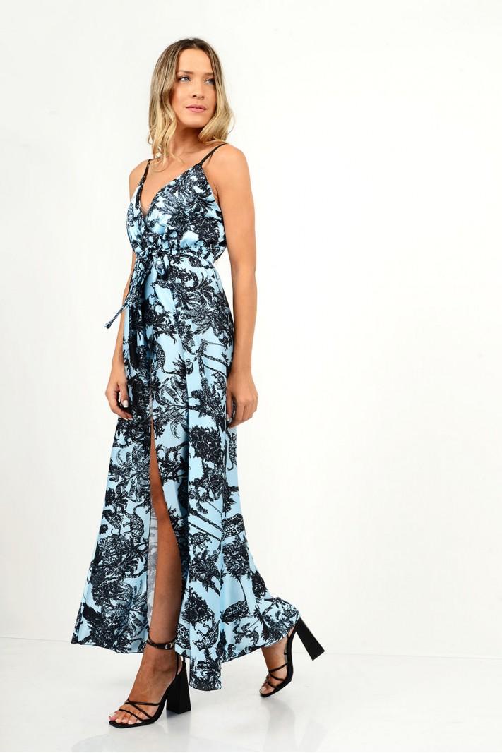 823.Φόρεμα μακρύ εμπριμέ με τιράντες