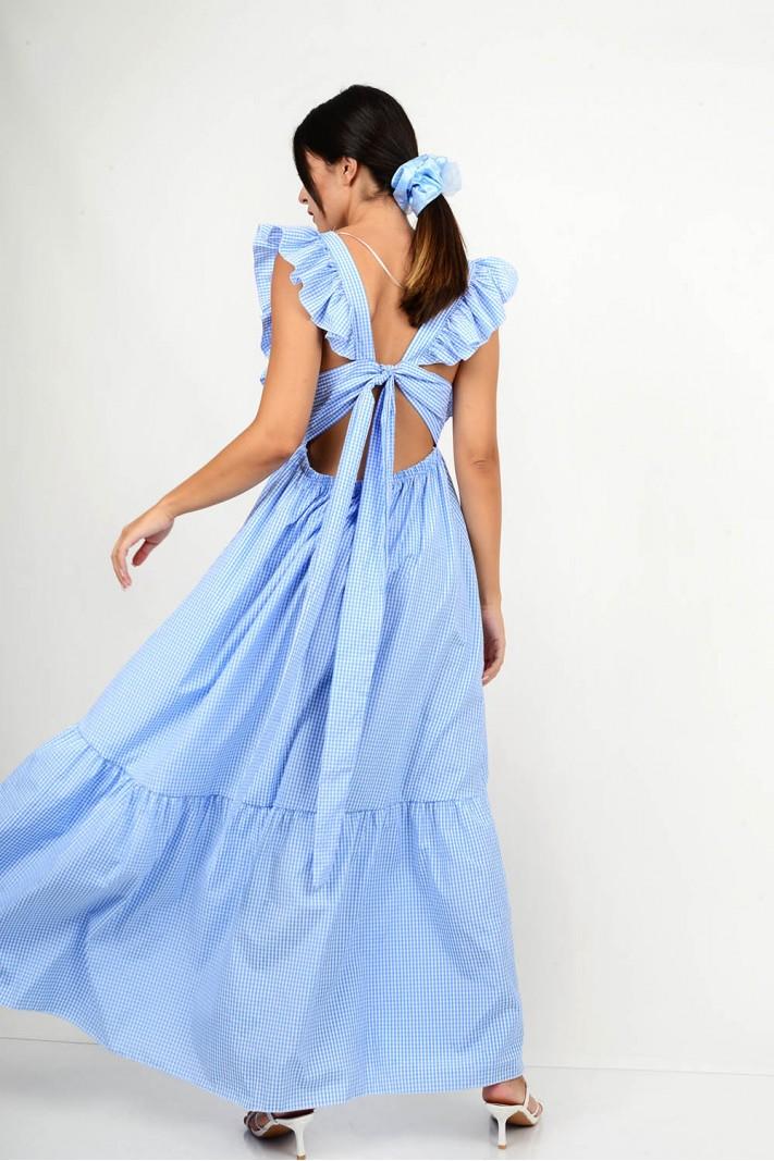 825.Φόρεμα μακρύ καρό σε άλφα γραμμή με δέσιμο