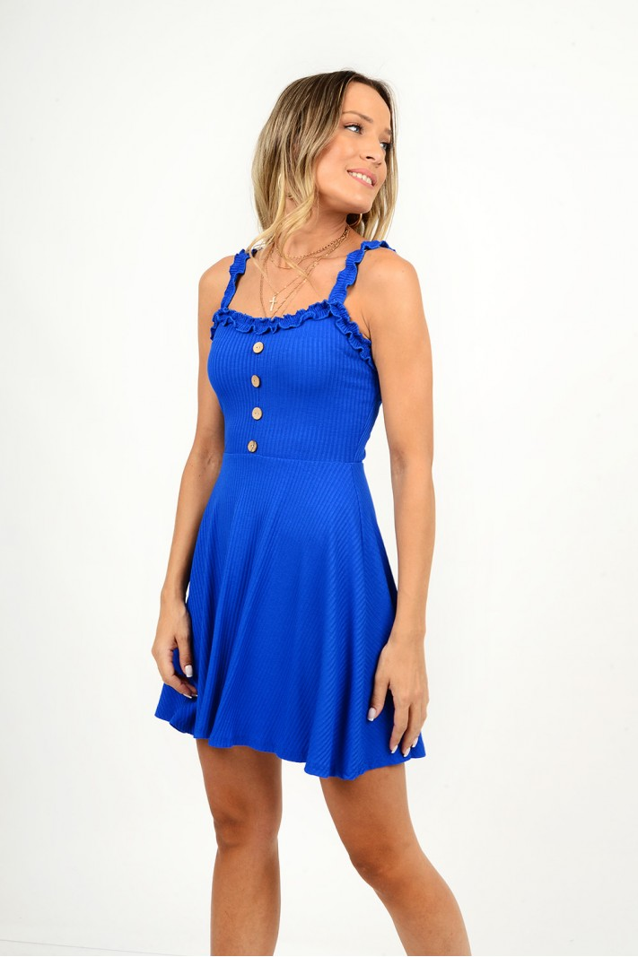 826.Φόρεμα rib κοντό με διακοσμητικά κουμπιά