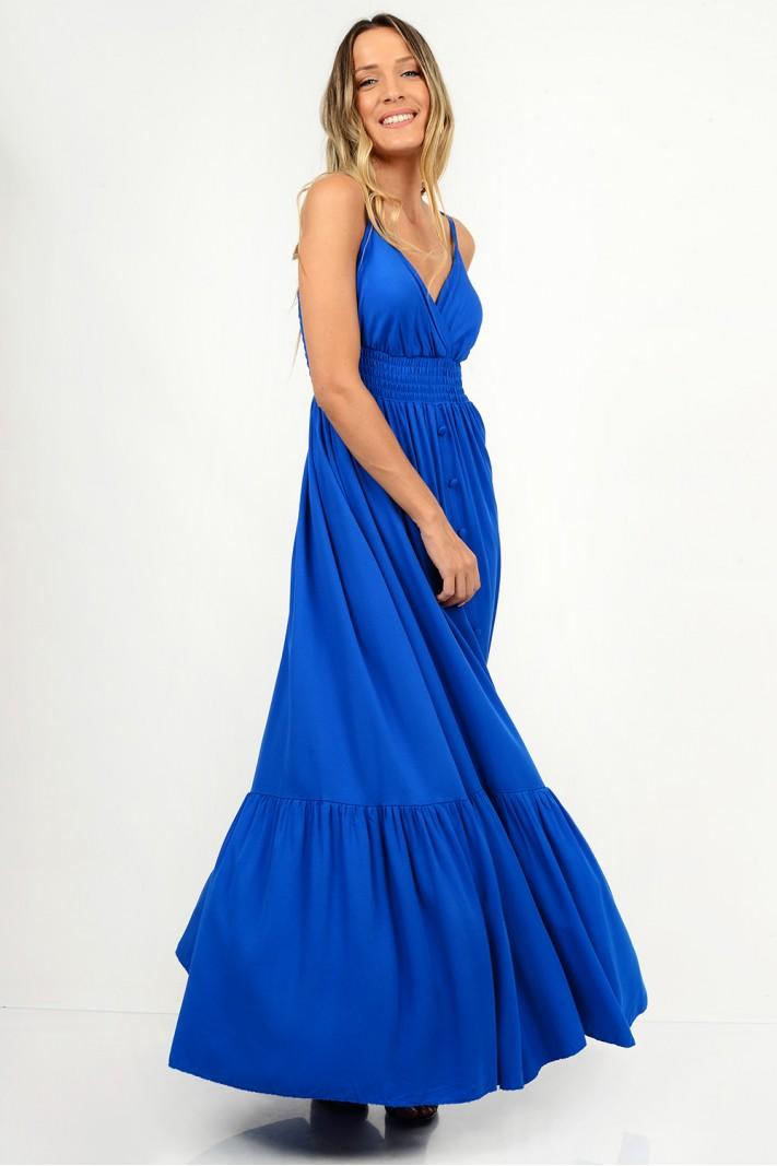 828.Φόρεμα μάξι βολάν με διακοσμητικά κουμπιά
