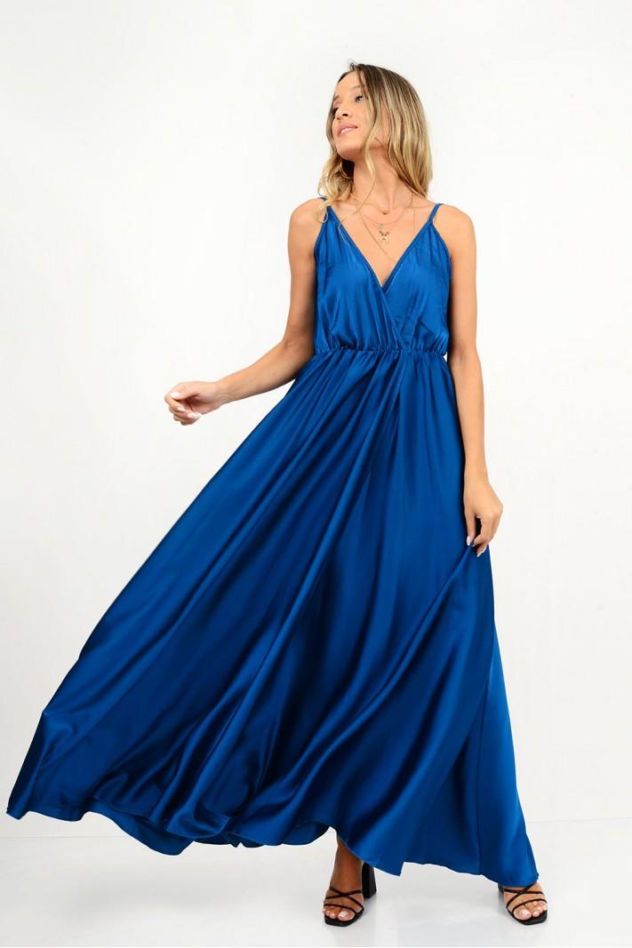 831.Φόρεμα μακρύ σατέν με κρουαζέ άνοιγμα