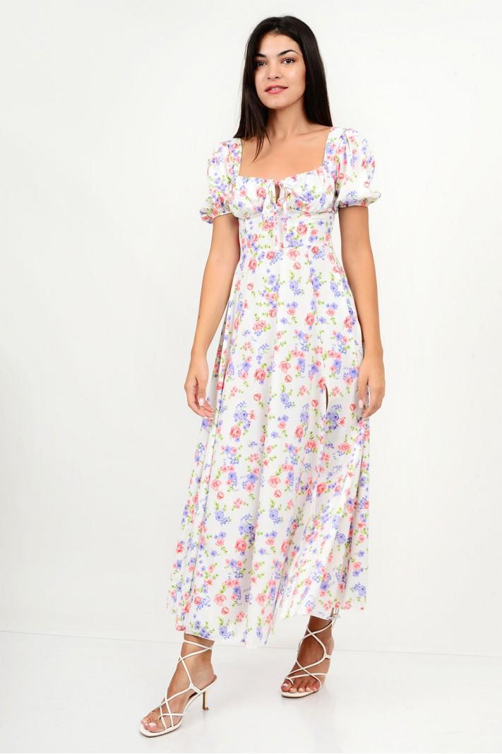 833.Φόρεμα μακρύ φλοράλ με άνοιγμα