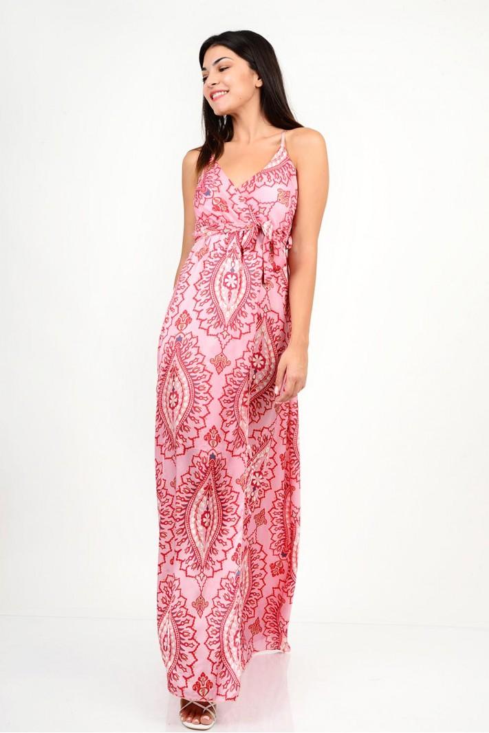 835.Φόρεμα μακρύ εμπριμέ με κρουαζέ άνοιγμα
