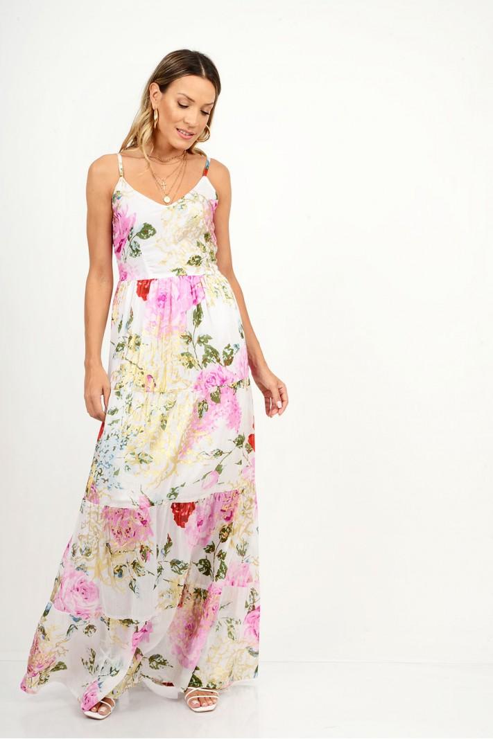 837.Φόρεμα μάξι φλοράλ με τιράντες