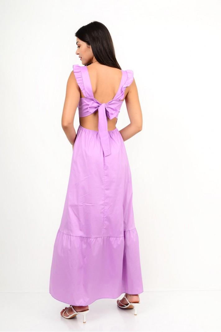 846.Φόρεμα μακρύ σε άλφα γραμμή με δέσιμο