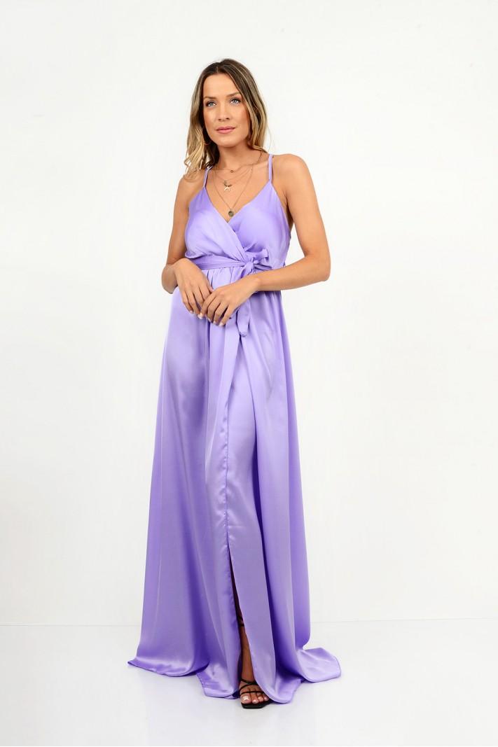 847.Φόρεμα μακρύ σατέν με κρουαζέ άνοιγμα
