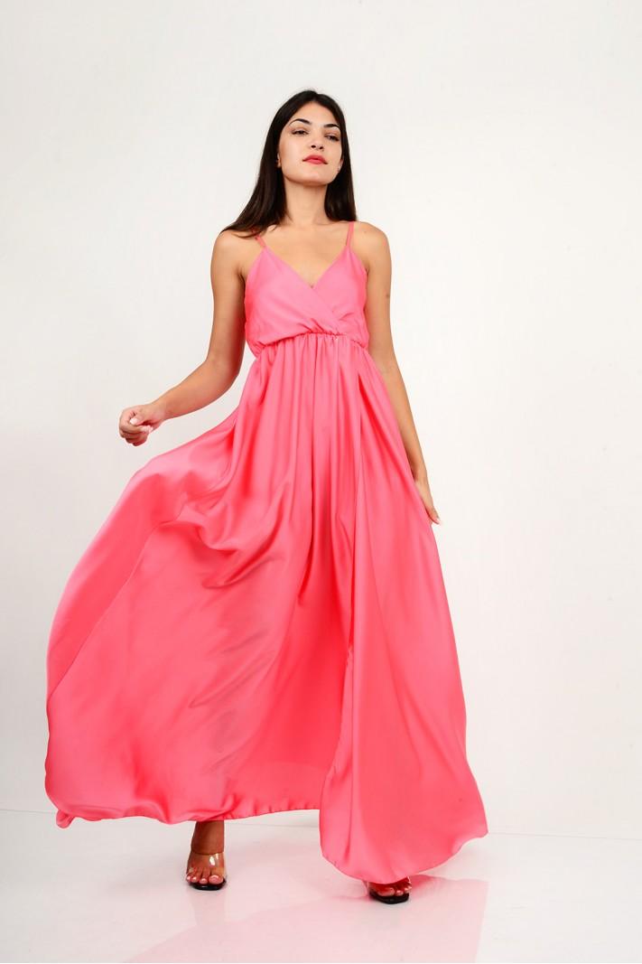 848.Φόρεμα μακρύ σατέν με κρουαζέ άνοιγμα