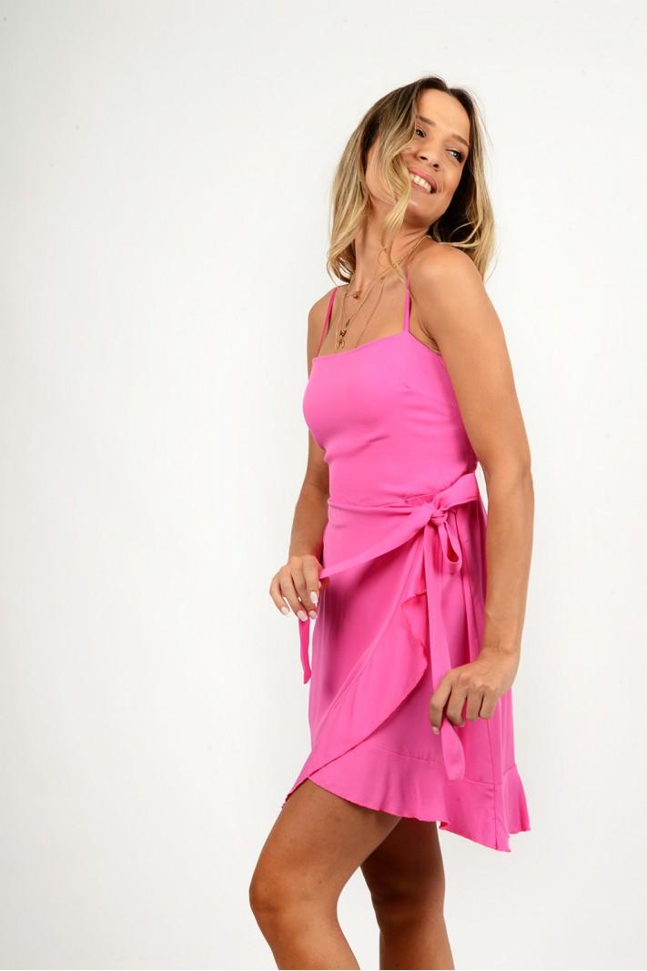 853.Φόρεμα κοντό λινό κρουαζέ