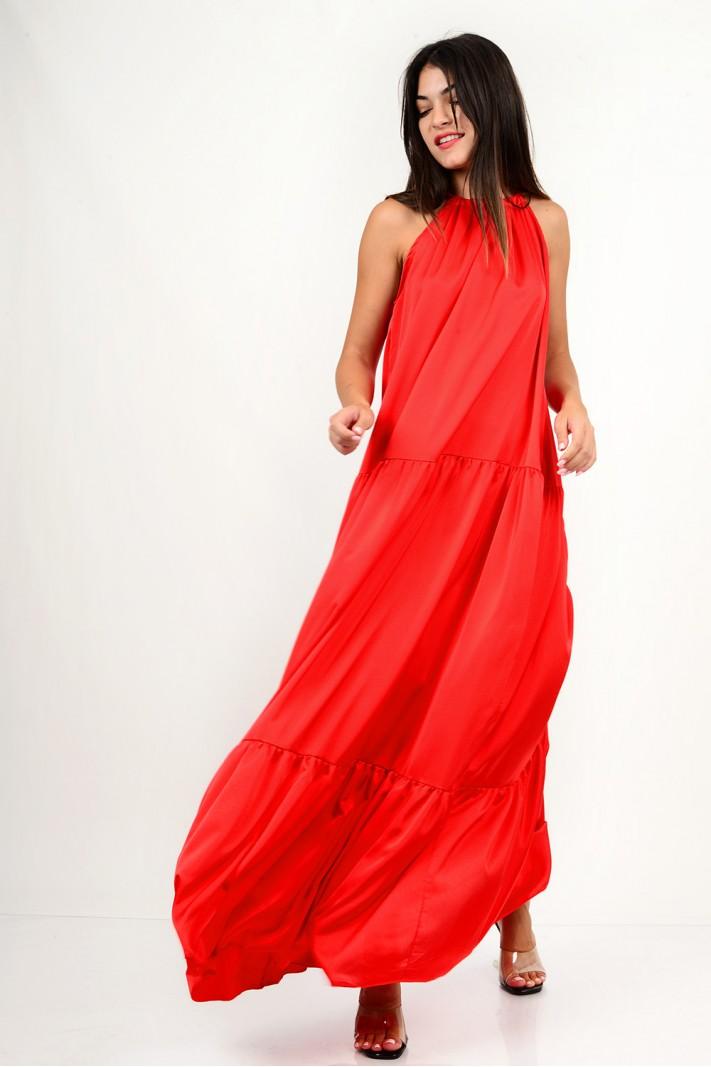 855.Oversized φόρεμα μάξι σατέν αμάνικο