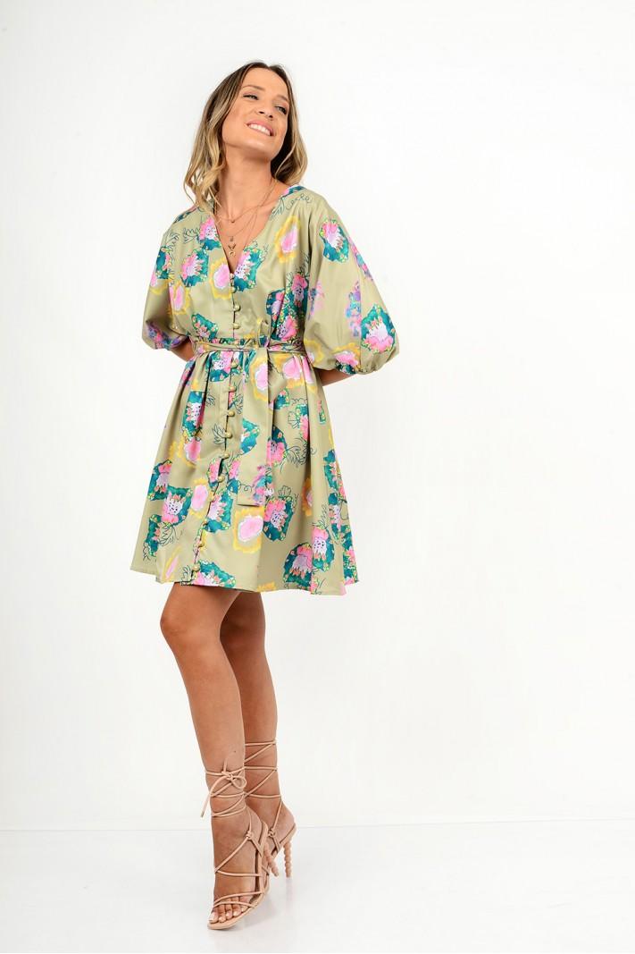 859.Φόρεμα κοντό φλοράλ με κουμπιά