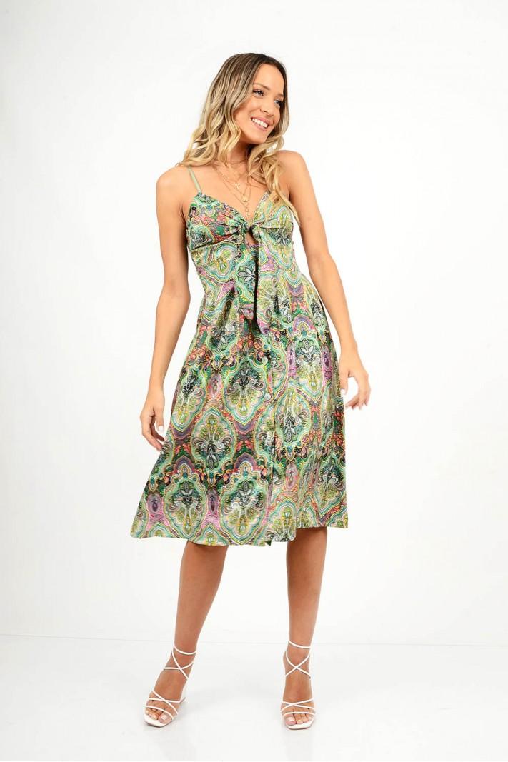 860.Φόρεμα μίντι εμπριμέ με κουμπιά