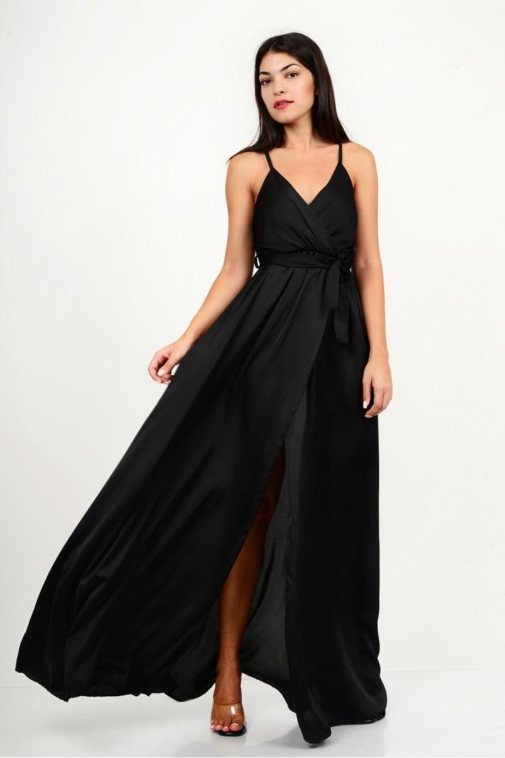 861.Φόρεμα μακρύ σατέν με κρουαζέ άνοιγμα