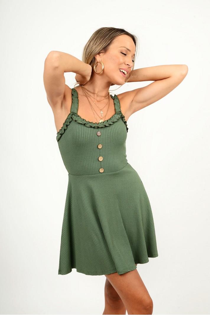 863.Φόρεμα rib κοντό με διακοσμητικά κουμπιά