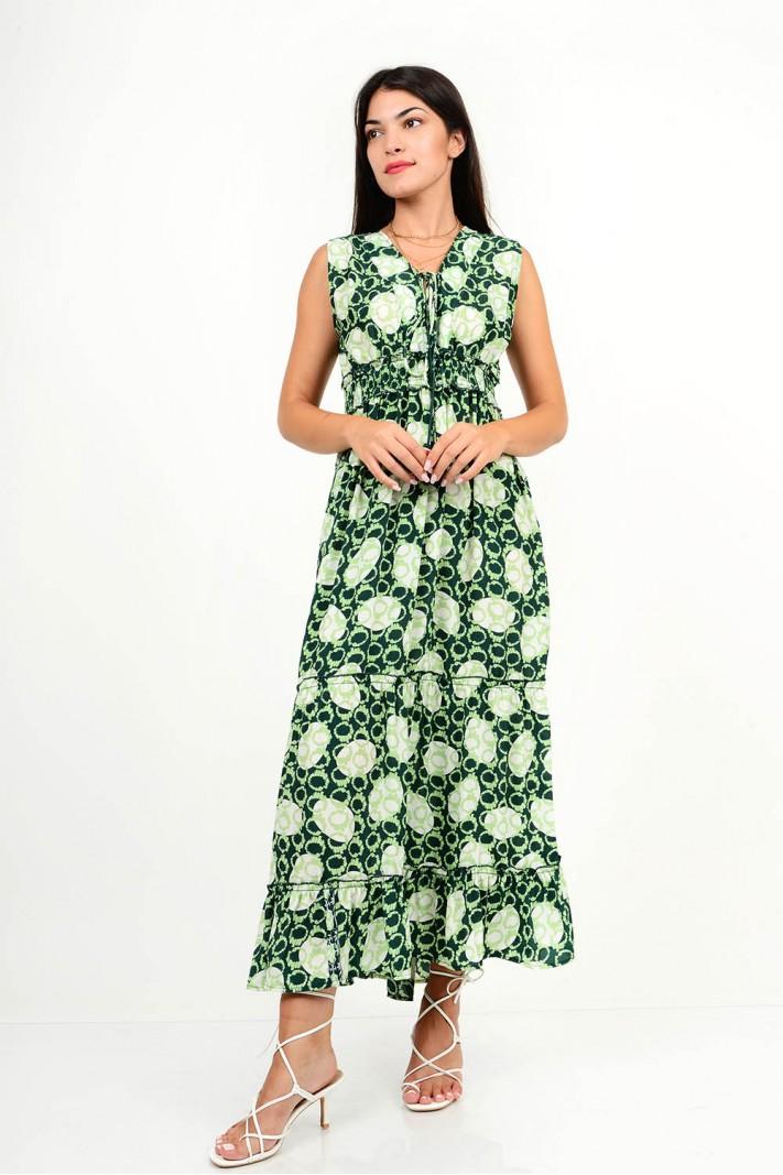 869.Φόρεμα μακρύ εμπριμέ με άνοιγμα στην πλάτη