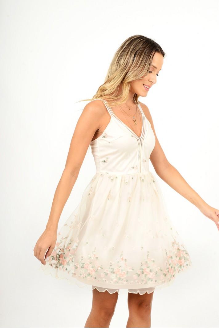 871.Φόρεμα κοντό με διαφάνεια λουλούδια