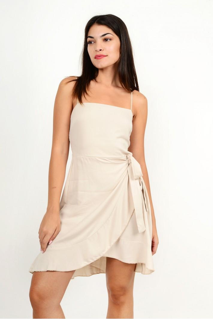 875.Φόρεμα κοντό λινό κρουαζέ