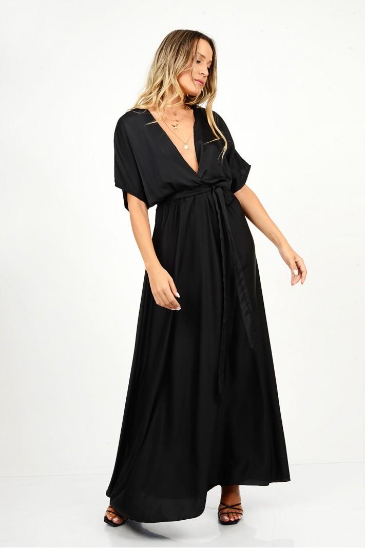 877.Φόρεμα μακρύ σατέν με μανίκια