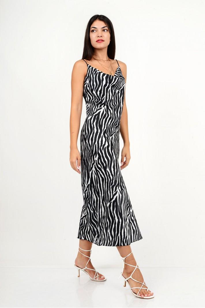 878.Φόρεμα μίντι lingerie animal print