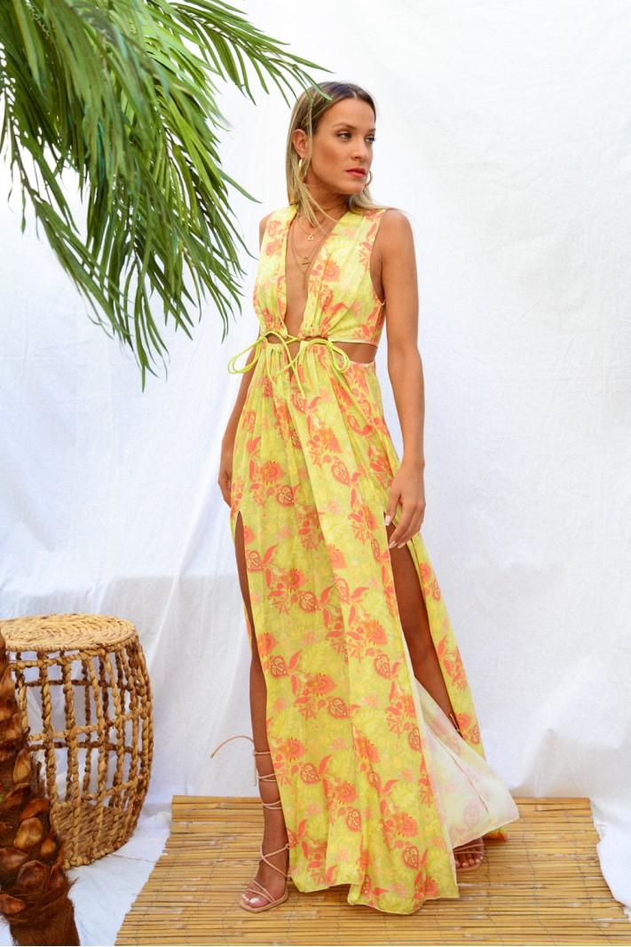 895.Φόρεμα μάξι φλοράλ με ανοίγματα