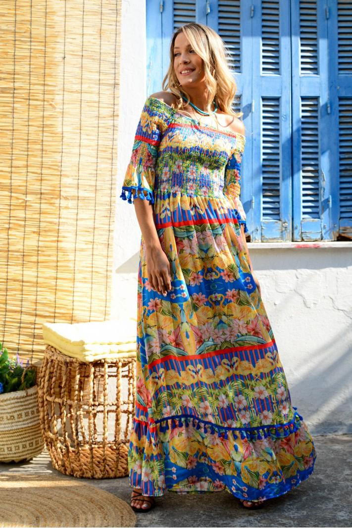 897.Φόρεμα μακρύ στράπλες φλοράλ με κρόσσια