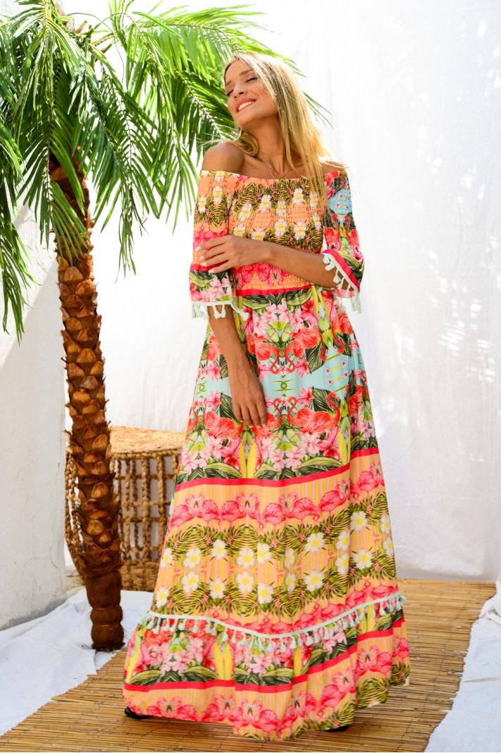 898.Φόρεμα μακρύ στράπλες φλοράλ με κρόσσια