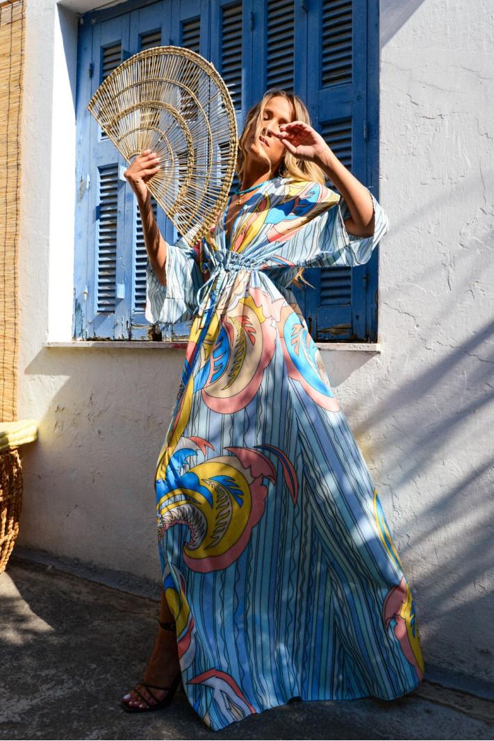 899.Φόρεμα μάξι εμπριμέ με μανίκια