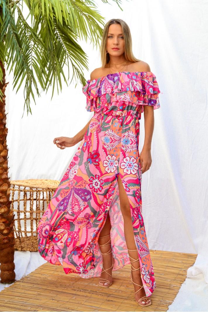 900.Φόρεμα μακρύ στράπλες φλοράλ με άνοιγμα και βολάν