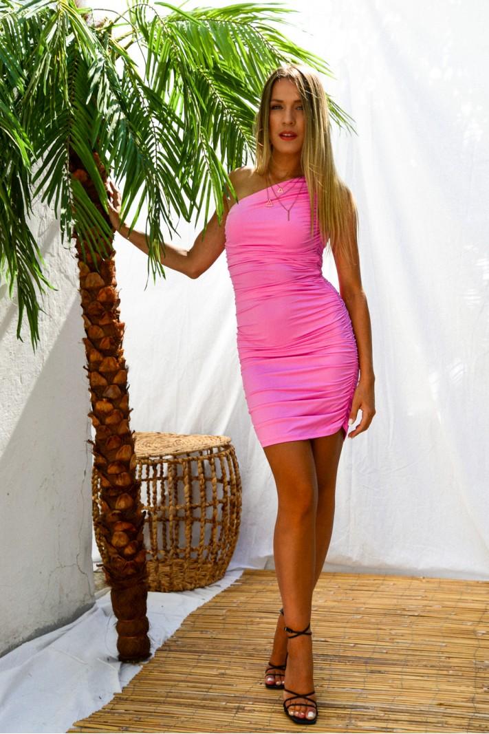 909.Φόρεμα κοντό με έναν ώμο και σούρες