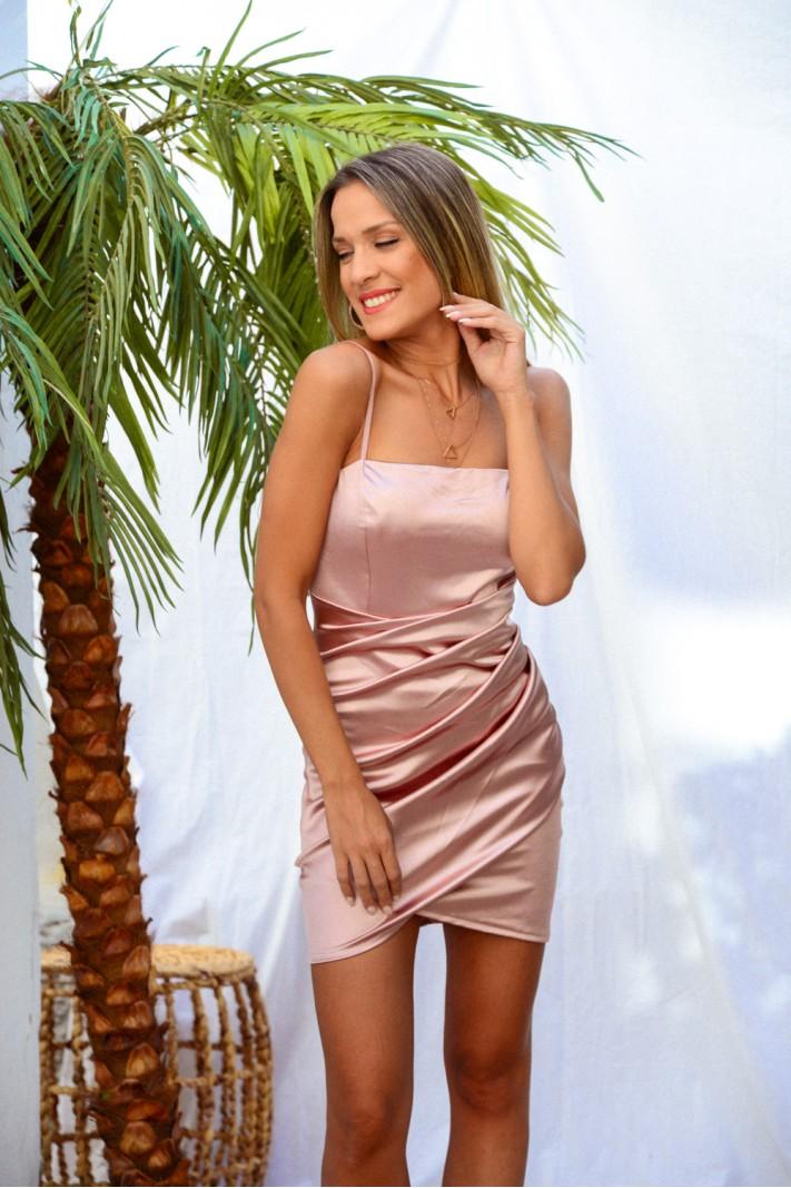 914.Φόρεμα κοντό σατέν με σούρες