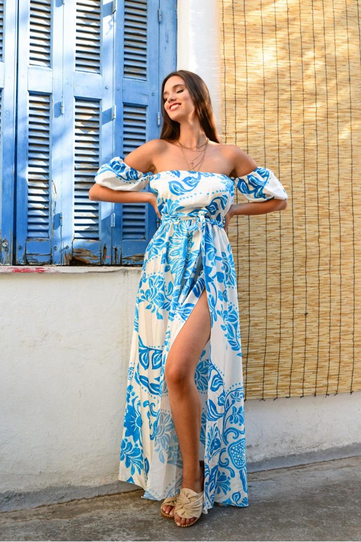 885.Φόρεμα στράπλες φλοράλ με κρουαζέ άνοιγμα